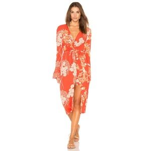 FREE PEOPLE Orange Floral Twist Midi Dress